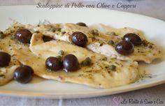 Le Scaloppine di Pollo con Olive e Capperi sono un semplicissimo secondo piatto ideale per il pranzo o per la cena. E' un piatto che proprio per la sua se
