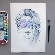 4,933 vind-ik-leuks, 36 reacties - Polina Bright (@poli.bright.art) op Instagram: 'Hydrangea blindfolded 💙💜 📍original is available for purchase'