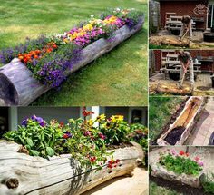 Imagine how fabulous this Log Planter will look in your garden and its a very easy DIY. Be sure to check out the Wooden Log Train Planters in the post too! Log Planter, Tree Planters, Planters Flowers, Planter Ideas, Diy Garden Projects, Outdoor Projects, Art Projects, Garden Crafts, Deco Floral