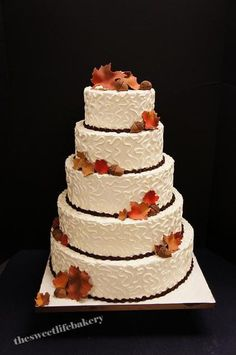 The Sweet Life Bakery - Wedding Cake - Vineland, NJ - WeddingWire Autumn Wedding Cakes, Fall Wedding Decorations, Elegant Wedding Cakes, Wedding Themes, Rustic Wedding, Our Wedding, Wedding Centerpieces, Wedding Colors, Wedding Ideas