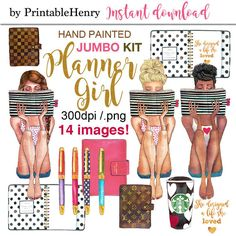 Planner girl clipart fashion graphics girl boss reading Kate