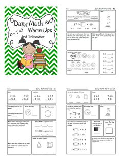 Second grade math review FREEBIE-These Daily Math Warm Ups are a great way to start the day with your second grade students! These warm ups are designed to help students get extra practice and review concepts that have been previously taught in class. Click on preview for FREE sample pages