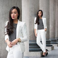 Perfect for that winter white look KD<3. Mango Blazer, Mango Trousers