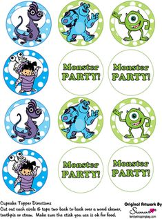 Cupcake Toppers, Monsters Inc, Party Decorations - Free Printable Ideas from… Monster University Birthday, Monster Inc Birthday, Monster Inc Party, Disney Cake Toppers, Cupcake Toppers, Monsters Inc Doors, Monsters Inc Cupcakes, Free Baby Shower Printables, Free Printable