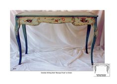 Venentian Writing Desk - Baroque Floral design, hand painted tables, painted writing desks, small writing desks