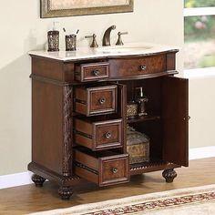 Silkroad Exclusive HYP0213CMUIC36R | Appliances Connection 36 Inch Bathroom Vanity, Single Sink Bathroom Vanity, Vanity Sink, Wood Bathroom, Bathroom Cabinets, Bathroom Vanities, Bathroom Ideas, Bathrooms, Granite Vanity Tops