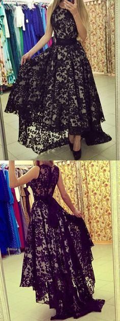 Black Prom Dresses,High Low Evening Gowns,Lace Sleeveless Prom Gown,High Low Maxi Formal Dress,Beautiful Party Dresses For Teens PD20185247