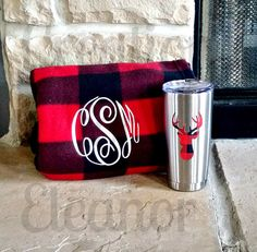 Monogrammed Blanket and Tumbler, Fleece Blanket, Stainless Tumbler, Christmas Gift Set, Personalized Gift, Buffalo Plaid, Deer Head Monogram