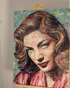 LAUREN BACALL ... work in progress 100% Collage / paper on plywood 60 x 80cm / by ©philippe patricio