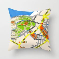 Tel Aviv Jaffa map design - written in Hebrew Throw Pillow by Efratul