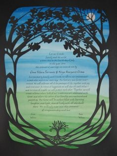 Papercut Ketubah - Evening Silhouette Ketubah - Wedding Certificate - Michigan Women's Music Festival touch for $375 (jer liked this one)