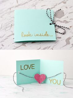 look inside diy valentines day card