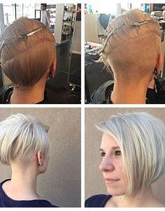 "21 Adorable Asymmetrical Bob Hairstyles for 2016: #13. Grunge asymmetrical platinum bob with ""half shaved"" back"