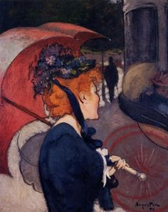 Woman with an umbrella, or The Walk - Louis Anquetin (French 1861-1932)