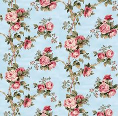 Dolls House Miniature Wallpaper 1/12th or 1/24th scale Quality Paper Blue Roses Dollhouse #60
