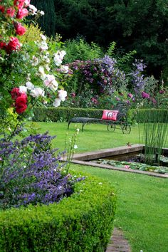 rose garden and pond