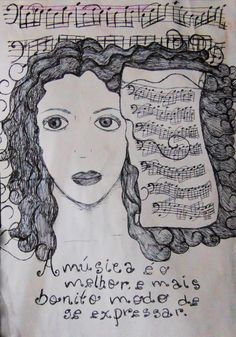 Modo de expressar - Rosto com elementos musicais reais desenhado com caneta esferográfica.