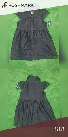 **NEW** Old Navy Dress Dark tone toddler knit chambray dress 6-button frontal closure Small front upper pocket Old Navy Dresses