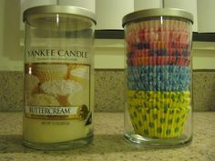 Turn a Yankee Candle Perfect Pillar jar into a cupcake liner holder. When the candle is finished, empty out the remainder wax and remove all stickers. Wash it up and put the liners in it. They fit perfectly and I have over 290 liners in there now.