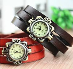 Retro bracelet watch, three laps leather watches, vintage, lover watches, couple gift, Christmas W-086
