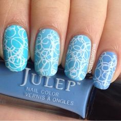 They're not the same, they're similar. LOLOL. Colors: @Julep Something Blue, Bess, Jeanne, and Rebecca with random stamps on top of it using Sinful Colors Snow Me White