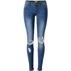 Casual Pure Color Ripped Holes Elastic Pencil Jeans ($27) ❤ liked on Polyvore featuring jeans, pants, newchic, blue, calça jeans, print jeans, blue jeans, pencil jeans, ripped jeans and patterned jeans