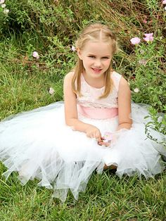Little Girls Pink TuTu Skirt Wedding Flower Girl Dress
