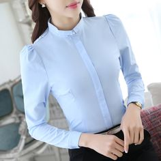 New Women Casual Basic Autumn Spring Chiffon Blouse White Top Shirt Formal OL Full sleeves Work Wear Business Plus Size Formal Blouses, Formal Shirts, Button Up Shirt Womens, Stylish Tops For Women, Cute Work Outfits, Sewing Blouses, Corporate Outfits, Beautiful Blouses, Corsage