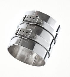 Silver cuff-style bracelet with double buckle details can be dressed up or down. Fashion Bracelets, Jewelry Bracelets, Fashion Jewelry, Bangles, Jewelry Art, Vintage Jewelry, Jewelry Design, Jewellery Box, Jean Paul Gaultier Women