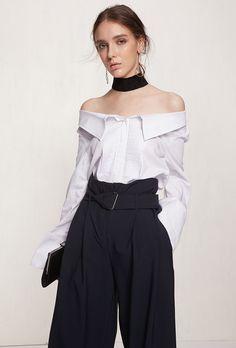 #AdoreWe Few Moda, Minimalistic Fashion Brands Online - Designer Few Moda Pure White Off-Shoulder Blouse TP1532 - AdoreWe.com