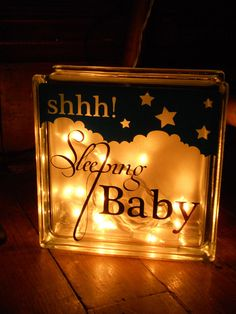 Baby Gifts - Nursery Nightlight - Sleeping Baby vinyl cut with Silhouette Cameo Painted Glass Blocks, Decorative Glass Blocks, Lighted Glass Blocks, Glass Cube, Glass Boxes, Vinyl Crafts, Vinyl Projects, Silhouette Cameo, Glass Block Crafts