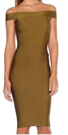 Winter 2016 Women sexy Bodycon Bandage Dress Olive Off-shoulder Slash Neck Elegant Celebrity Runway Dress Evening Party Dresses