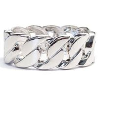 HP Silver Link Bracelet Silver Chain Link Bangle Bracelet - excellent quality! Material content: Base Metals. Made in China. Photos by T&J Design.  Price firm  T&J Designs Jewelry Bracelets