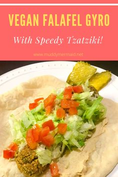 This vegan version of a falafel and tzatziki is so easy and yummy!  gyro, falafel, vegan, vegetarian, tzatziki, meatless monday, Yummy Gyro, Gyro Recipe, Vegan Yogurt, Plain Greek Yogurt, Tzatziki, Meatless Monday, Recipe Using, Cooking Time, Kitchens