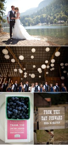 Intimate wedding with blue and pink wedding colors, wildflowers, pine cones and wooden signs as rustic wedding decor