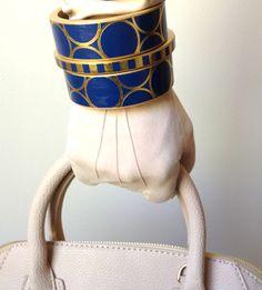 Bold modern bracelet cuff dark blue with gold circles --Chauci Charvet