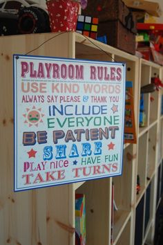 Kids Playroom Rules Metal Sign