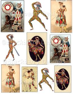decoupage paper, collage sheet,circus,vintage jesters,vintage clowns,harlequin