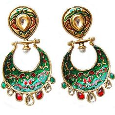 MAAYRA Green Maroon Bollywood Party Earrings - Online Shopping for Earrings by Maayra