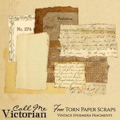 Free Torn Paper Scraps Kit - Vintage Ephemera Fragments ~ Each torn piece is a PNG image