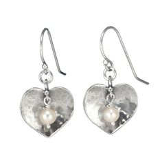 Silver earrings with hearts and pearls.