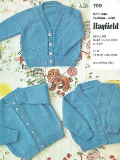 Hayfield 709 cardigans baby vintage knitting pattern