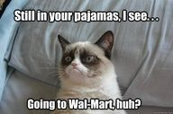 Still in your pajamas, I see….Going to Wal-Mart, huh?