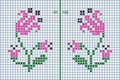 Mini Cross Stitch, Cross Stitch Borders, Cross Stitch Flowers, Cross Stitch Designs, Cross Stitching, Cross Stitch Patterns, Knitted Mittens Pattern, Fair Isle Knitting Patterns, Hand Embroidery Patterns