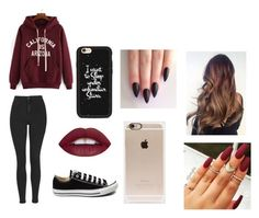 """Untitled #139"" by ignoredpest ❤ liked on Polyvore featuring Topshop, Converse, Incase, Casetify, nails, black, converse and maroon"