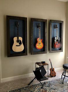 Guitar Display Wall, Guitar Wall, Guitar Room, Piano Room, Home Music Rooms, Music Studio Room, Decor Pad, Room Decor, Recording Studio Home