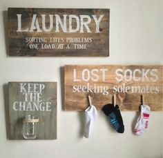 "laundry signs: ""keep the change"" ""lost socks seeking sole mates"" ""laundry: sorting life's problems, one load at a time"" Easy Home Decor, Cheap Home Decor, Cute Home Decor, Home Decor Hacks, Lost Socks, Do It Yourself Home, My New Room, Country Decor, Country Living"