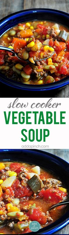 Slow Cooker Vegetable Soup - This Slow Cooker Vegetable Soup recipe is so simple to make and absolutely scrumptious. A definite family favorite! // addapinch.com: