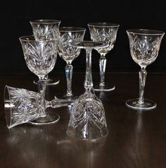 Vintage Set of 7, Tall, Cut Crystal Wine Glasses, Oval, Fan, Star, Multi Sided Stem