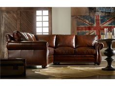 The Sterling Sectional is offered in hundreds of leather options. The standard wood finish is Mahogany and Nailhead Trim #9 in Natural Finish.